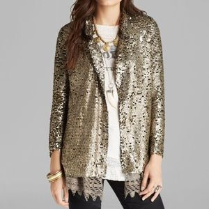 Free People Gold Sequin Jacket